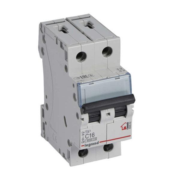 Выключатель автоматический модульный 2п C 16А 6кА TX3 Leg 404042