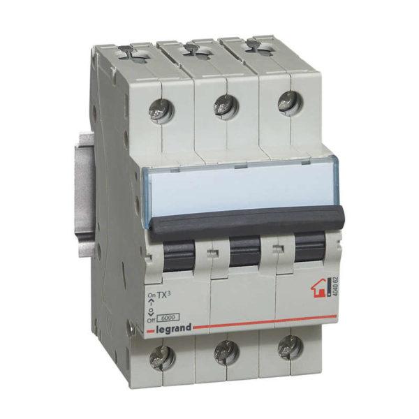 Выключатель автоматический модульный 3п C 40А 6кА TX3 Leg 404060