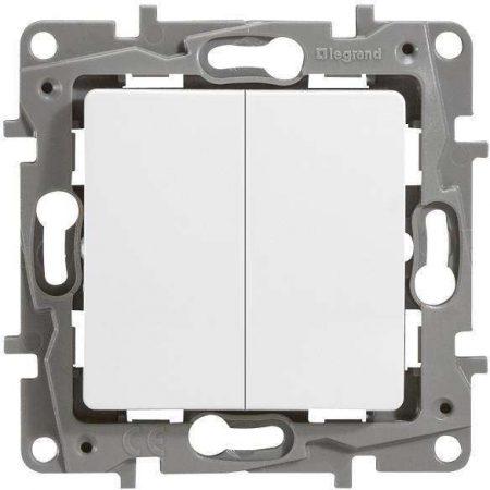 Механизм выключателя 2-кл. СП Etika 10АX безвинт. зажимы бел. Leg 672202