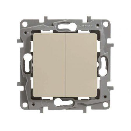 Механизм выключателя 2-кл. СП Etika 10АX безвинт. зажимы сл. кость Leg 672302