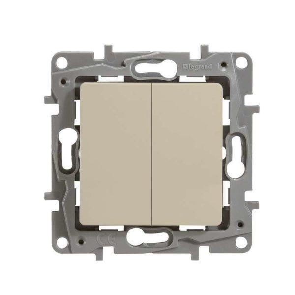 Механизм выключателя 2-кл. СП Etika 10АX с подсветкой / индикацией безвинт. зажимы сл. кость Leg 672304