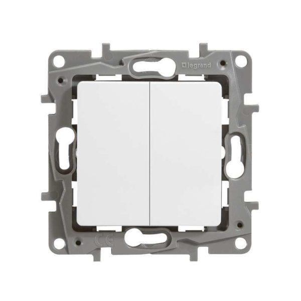 Механизм переключателя 2-кл. СП Etika Plus 10АX безвинт. зажимы бел. Leg 672212