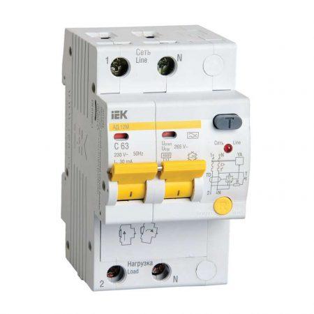 Выключатель автоматический дифференциального тока 2п C 16А 30мА тип A 4.5кА АД-12М ИЭК MAD12-2-016-C-030
