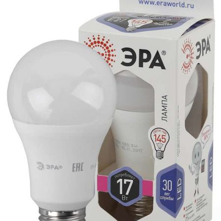 Лампа светодиодная A60-17W-860-E27 грушевидная 1360лм ЭРА Б0031701