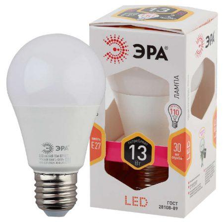 Лампа светодиодная A60-13W-827-E27 грушевидная 1040лм ЭРА Б0020536