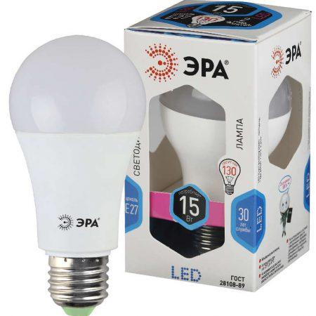 Лампа светодиодная A60-15W-840-E27 грушевидная 1200лм ЭРА Б0033183