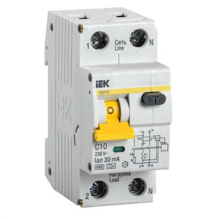 Выключатель автоматический дифференциального тока 2п (1P+N) C 10А 30мА тип A 6кА АВДТ-32 ИЭК MAD22-5-010-C-30