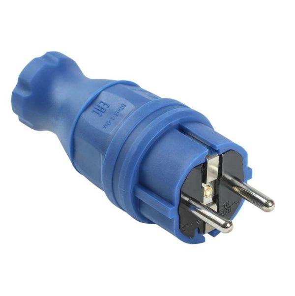 Вилка прямая ОМЕГА ВБп3-1-0м IP44 каучук син. ИЭК PKR01-016-2-K07