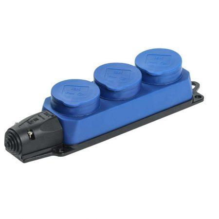 Розетка 3-м ОМЕГА РБ33-1-0м IP44 каучук син. ИЭК PKR61-016-2-K07