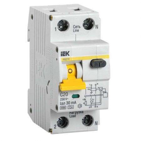Выключатель автоматический дифференциального тока 2п (1P+N) C 20А 30мА тип A 6кА АВДТ-32 ИЭК MAD22-5-020-C-30