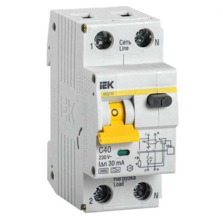 Выключатель автоматический дифференциального тока 2п (1P+N) C 40А 30мА тип A 6кА АВДТ-32 ИЭК MAD22-5-040-C-30