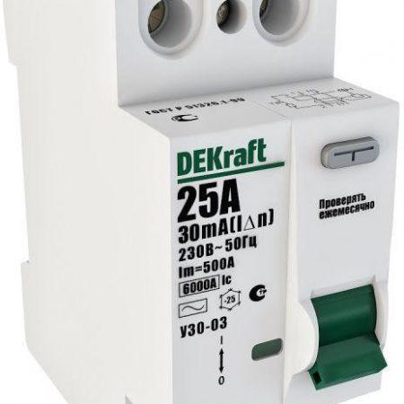 Выключатель дифференциального тока (УЗО) 2п 25А 30мА тип AC 6кА УЗО-03 SchE 14054DEK