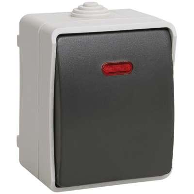 Выключатель 1-кл. ОП ФОРС 10А с подсвет. сер. IP54 ВС20-1-1-ФСр ИЭК EVS11-K03-10-54-DC