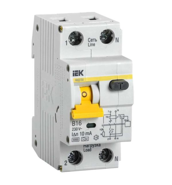 Выключатель автоматический дифференциального тока 2п (1P+N) B 16А 10мА тип A 6кА АВДТ-32 ИЭК MAD22-5-016-B-10