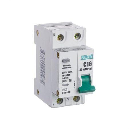 Выключатель авт. диф. тока 1Р+N 16А 30мА AC х-ка С ДИФ-103 4.5кА со вст. защ. от сверхтоков SchE 16013DEK