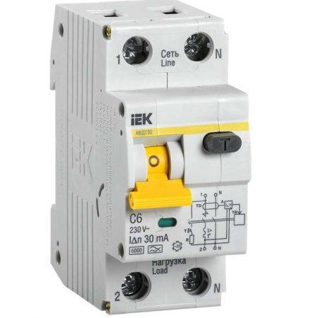 Выключатель автоматический дифференциального тока 2п (1P+N) C 6А 30мА тип A 6кА АВДТ-32 ИЭК MAD22-5-006-C-30