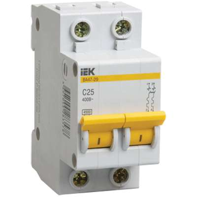 Выключатель автоматический модульный 2п C 10А 4.5кА ВА47-29 ИЭК MVA20-2-010-C