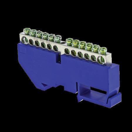 Шина нулевая N 6х9 12 отвер. никель син. изолятор на DIN-рейку PROxima EKF sn1-63-12-d