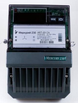 "Счетчик ""Меркурий"" 230 ART-03 CN 3ф 5-7.5А 0.5s/1.0 класс точн. многотариф.; CAN ЖКИ Моск. вр. Инкотекс 32702"