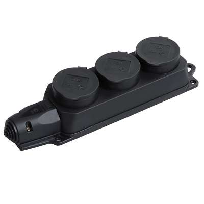 Розетка (колодка) 3-м Омега РБ33-1-0м с защ. крышкой IP44 каучук ИЭК PKR61-016-2-K02