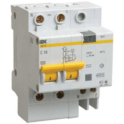 Выключатель автоматический дифференциального тока 2п C 16А 30мА тип AC 4.5кА АД-12 ИЭК MAD10-2-016-C-030