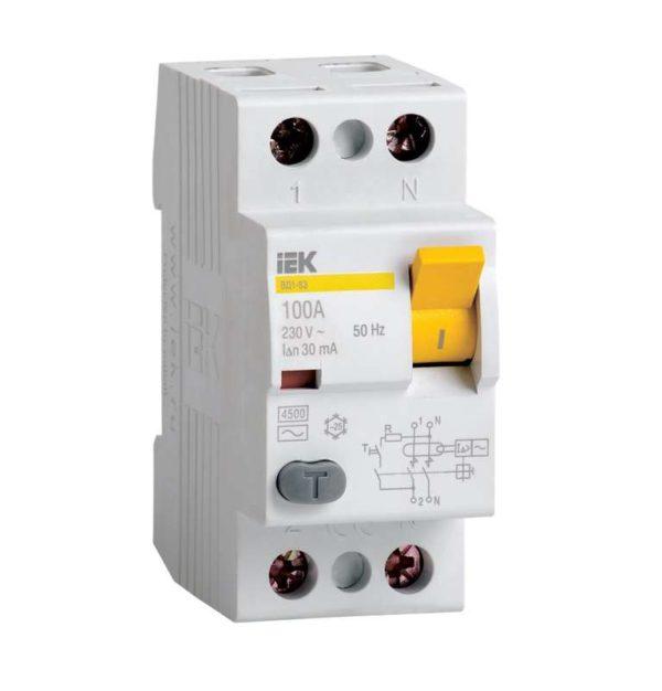 Выключатель дифференциального тока (УЗО) 2п 16А 30мА тип AC ВД1-63 ИЭК MDV10-2-016-030
