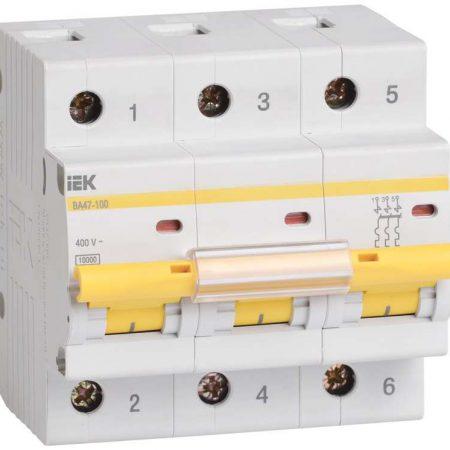 Выключатель автоматический модульный 3п C 100А 10кА ВА47-100 ИЭК MVA40-3-100-C