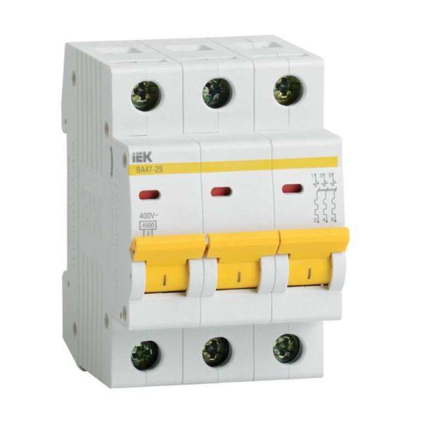 Выключатель автоматический модульный 3п C 6А 4.5кА ВА47-29 ИЭК MVA20-3-006-C