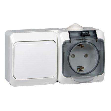Блок ОП Этюд (1-кл. выкл. + евророз. защ. шторки) IP44 бел. SchE BPA16-241B