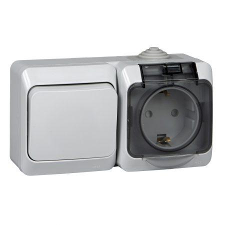 Блок ОП Этюд (1-кл. выкл. + евророз. защ. шторки) IP44 сер. SchE BPA16-241C