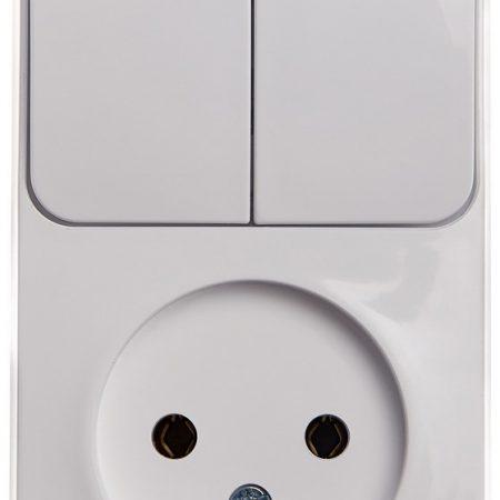 Блок ОП Этюд (1-м розетка без заземления + 2-кл. выкл.) бел. SchE BPA16-205B