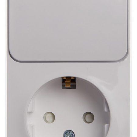 Блок ОП Этюд (1-м розетка с заземл. защ. шторки + 1-кл. выкл.) бел. SchE BPA16-201B