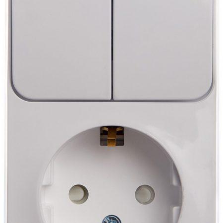 Блок ОП Этюд (1-м розетка с заземл. защ. шторки + 2-кл. выкл.) бел. SchE BPA16-202B