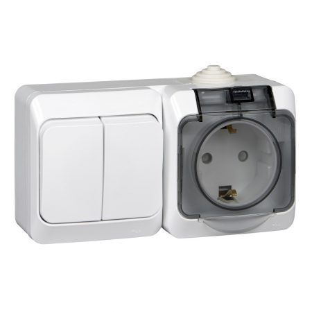 Блок ОП Этюд (2-кл. выкл. + евророз. защ. шторки) IP44 бел. SchE BPA16-242B