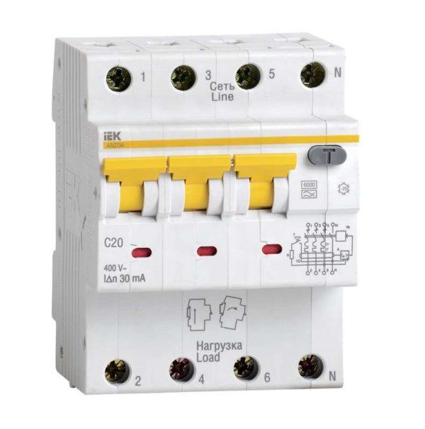 Выключатель автоматический дифференциального тока 4п (3P+N) C 25А 30мА тип A 6кА АВДТ-34 ИЭК MAD22-6-025-C-30