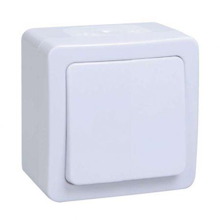 Выключатель 1-кл. ОП ГЕРМЕС PLUS 10А IP54 ВСп20-1-0-ГПБ проход. бел. ИЭК EVMP12-K01-10-54-EC