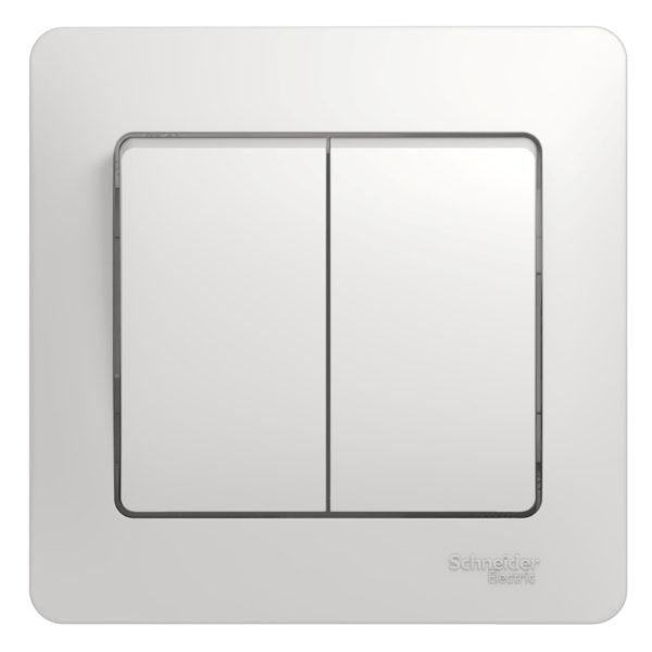 Выключатель 2-кл. СП Glossa 10А IP20 10AX в сборе бел. SchE GSL000152