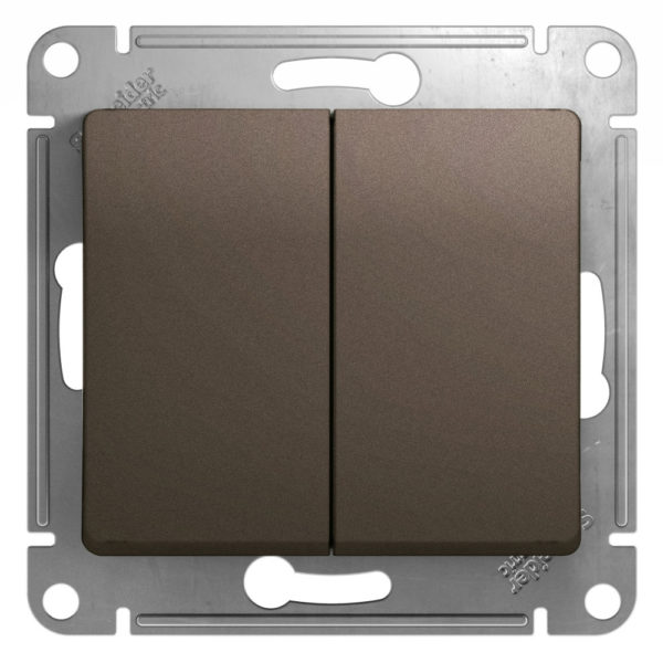 Механизм выключателя 2-кл. СП GLOSSA 10А IP20 10AX шоколад SchE GSL000851