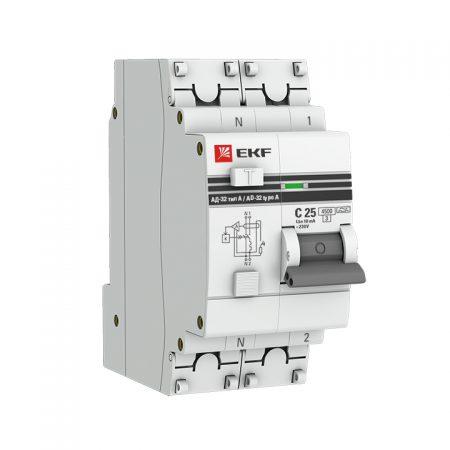 Выключатель авт. диф. тока 1п+N 2мод. C 16А 30мА тип AC 4.5кА АД-32 PROxima EKF DA32-16-30-pro