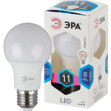 Лампа светодиодная A60-11w-840-E27 грушевидная 880лм ЭРА Б0017234/Б0029821