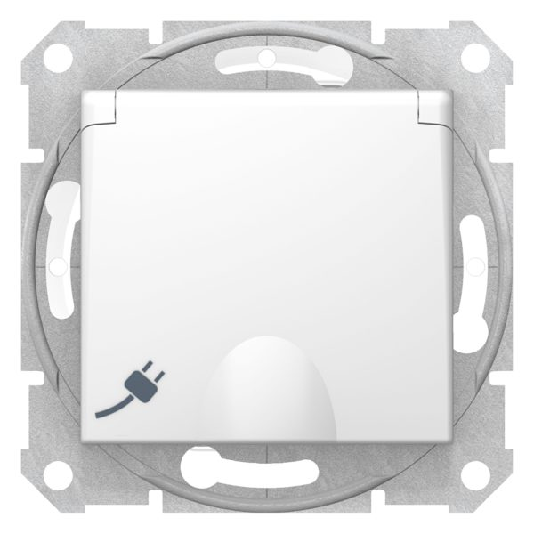 Механизм розетки 1-м СП Sedna 16А IP44 с защ. крышкой защ. шторки с заземл. быстрозажим. контакты бел. SchE SDN3100521