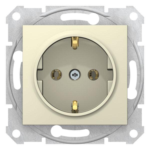 Механизм розетки 1-м СП Sedna 16А без шторок с заземл. быстрозажим. контакты беж. SchE SDN3001847