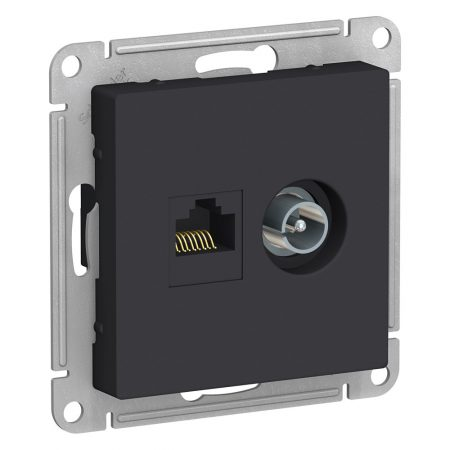 Механизм розетки 2-м ATLAS DESIGN комп. RJ45 кат.5E+TV карбон SchE ATN001089