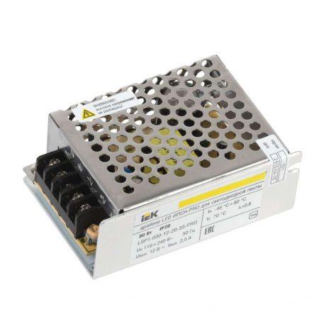 Драйвер LED ИПСН-PRO 5050 30Вт 12В блок-клеммы IP20 ИЭК LSP1-030-12-20-33-PRO
