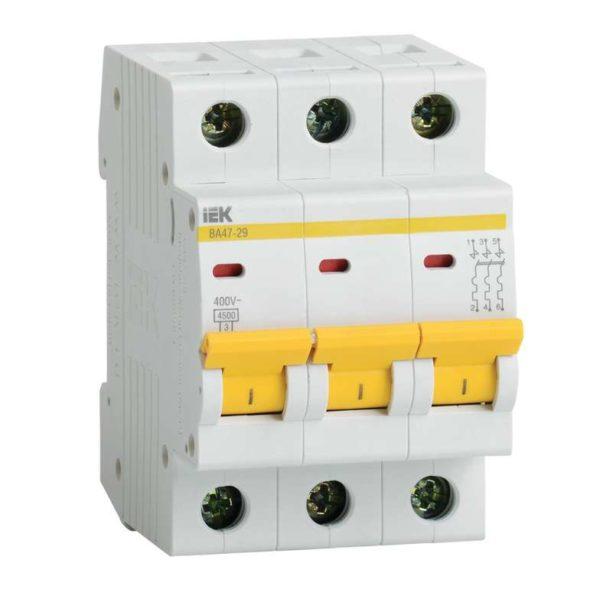 Выключатель автоматический модульный 3п D 10А 4.5кА ВА47-29 ИЭК MVA20-3-010-D