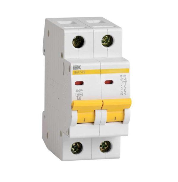 Выключатель автоматический модульный 2п C 2А 4.5кА ВА47-29 ИЭК MVA20-2-002-C