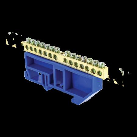 Шина нулевая N 6х9 14 отвер. латунь син. изолятор на DIN-рейку PROxima EKF sn0-63-14-d