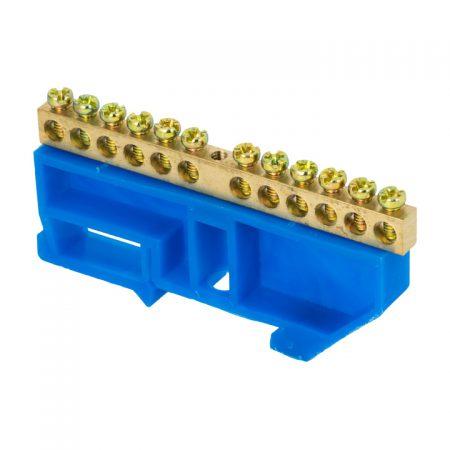 Шина нулевая N 6х9 12 отвер. латунь син. изолятор на DIN-рейку PROxima EKF sn0-63-12-d