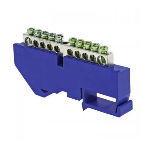 Шина нулевая N 6х9 10 отвер. никель син. изолятор на DIN-рейку PROxima EKF sn1-63-10-d