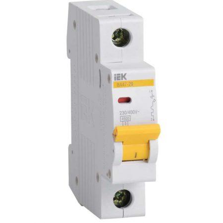 Выключатель автоматический модульный 1п B 16А 4.5кА ВА47-29 ИЭК MVA20-1-016-B